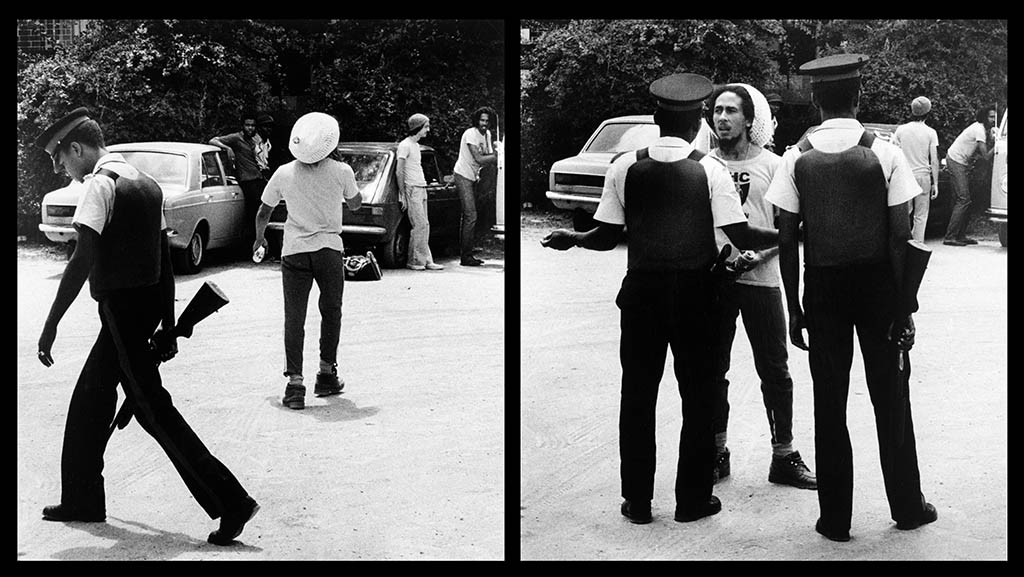 Police check out Tuff Gong - ~Bob prevents them talking to the gang Leaders who arrived for a press conference
